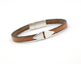 Brown Leather Men's Bracelet, Brown Cuff Mens Bracelet, Men's Jewelry, Men's Fashion, small gift, Christmas gift for him,  boyfriend gift