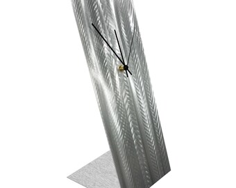 Modern Table Clock 'Silver Lines Desk Clock' by Nate Halley - Original Contemporary Clock Minimalist Decor on Natural Aluminum
