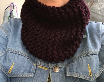 Chunky knit cowl scarf in eggplant. chunky knit cowl, circle scarf, knit eternity scarf, winter accessories.