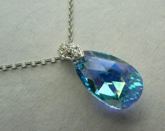 Deco style silver pendant with CZ stones & Swarovski elements blue AB crystal