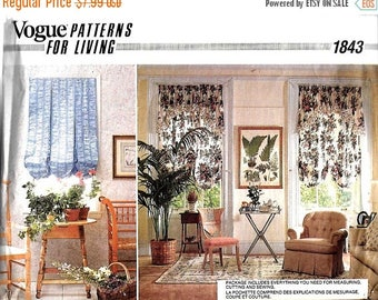 ON SALE Vogue 1843 Balloon Shade, Valances And Drapery Sewing Pattern, UNCUT