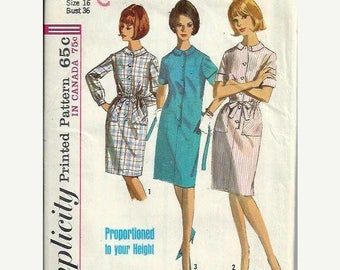 ON SALE 1960s Simplicity 5878 Misses Shift Dress Pattern in Proprtioned Sizes, Size 16 UNCUT