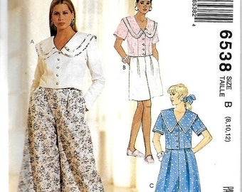 ON SALE McCall's 6538 Misses Tops, Culotte And Shorts Pattern, 8-12 & 10-14,  UNCUT