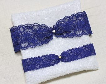 Blue lace garter set, gold tiny heart charm garter set, wedding garter set, lace garter set, bridal garter set