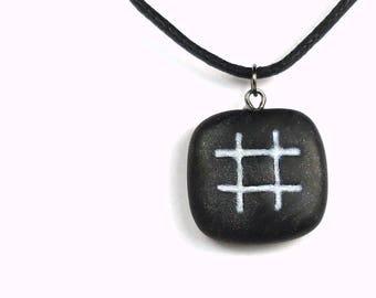 Hashtag Necklace, Hashtag Jewelry, Polymer Clay Hashtag, Twitter Hashtag