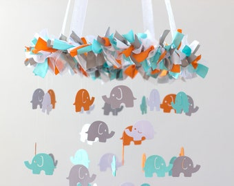 READY TO SHIP Elephant Nursery Mobile in Aqua, Orange, Gray & White- Nursery Mobile Decor, Baby Shower Gift