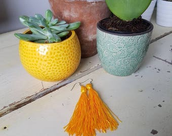 Simple Yellow Tassel Earrings - by Traditionalheart