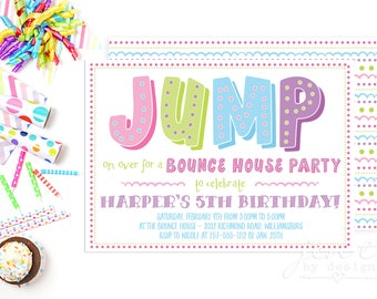 Bounce House Party Invitation - Trampoline Party Invitation - Birthday Invitations