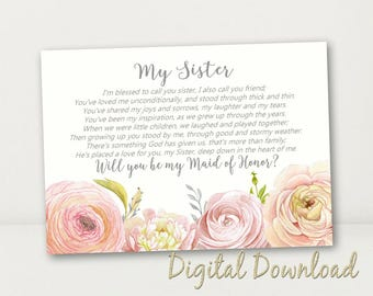 Sister Will You Be My Maid of Honor Proposal Cream Pink Coral Card Country Vintage Floral PRINTABLE  Instant Download File Sister Poem