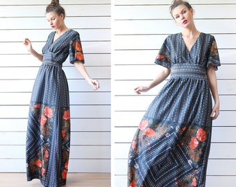 70s Vintage black red floral print butterfly sleeve bohemian style floor length maxi dress L