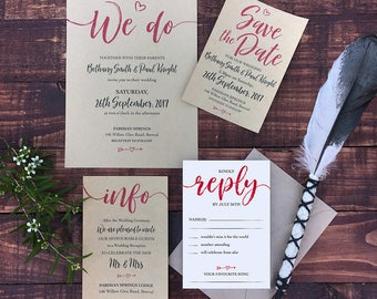 PRINTABLE Rustic Wedding Invitations (Customised Design) PDFs, RSVP, digital, downloadable design, print your own, Save the Date, DIY