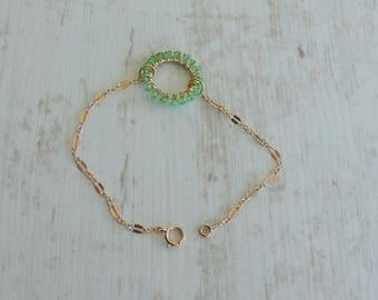 August Birthstone Bracelet, Peridot Swarovski Bracelet, 14k Gold Filled Bracelet, Gold Circle Bracelet , Birthday Gift, Gift For Her