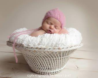 Newborn lace Mohair simple knit lace bonnet -newborn mohair props-many colors available