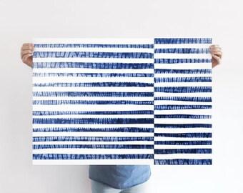 Shibori Stripes A1 Art Print, Abstract Blue Ocean Poster, Abstract Blue Sea, Extra Large Print, Wall Decor