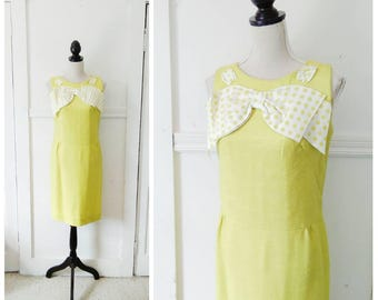20% OFF / The New Girl 1960s Chartreuse Drop Waist Dress with Over Sized White/Chartreuse Polka Dot Bow