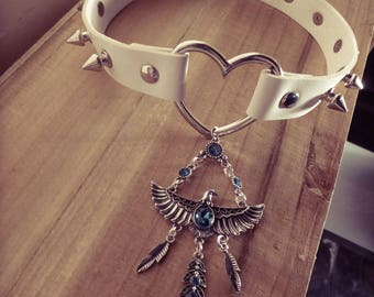 Silver steampunk Phoenix ♰Les mysterious cities of Or♰ white spikes necklace