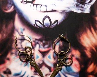 """Small bronze scissor earrings steampunk """"Edward Scissorhands"""""""