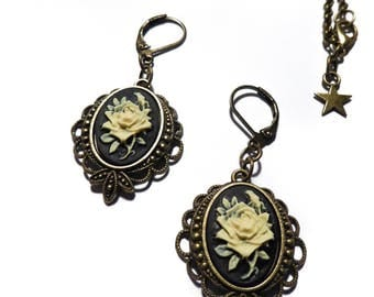 "Bronze cameo Bohemian Chic gypsy ""Roses"" calavera earrings"