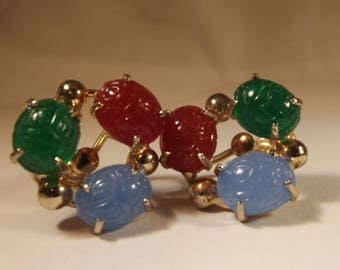 Earrings Vintage Scarab Egyptian Revival Screw Back Exquisite Molded Glass GP Findings Exotic Elegant Colorful Chic