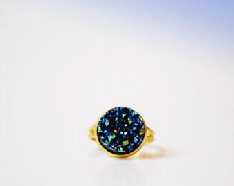 Midnight blue Druzy ring / galaxy ring / crystal boho ring