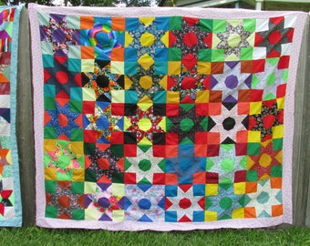 Colorful Quilt Top Handstitched