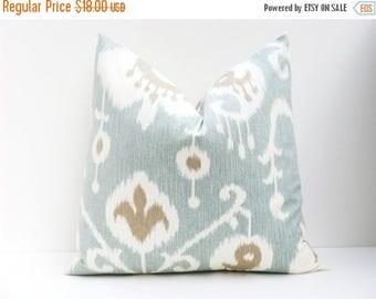 15% Off Sale Blue Pillow Ikat pillow Blue Pillow  Aqua Blue Pillow 20 x 20 Pillow  Ikat pillow 20x20   Decorative Throw Pillows Printed fabr