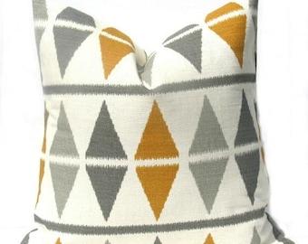 15% Off Sale Gray Pillow EURO Pillow Cover Burlap Pillow Mustard Yellow Pillow, Euro Sham,  Designer Pillow Cover - Accent Pillow - Cushion