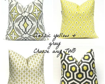 15% Off Sale Decorative Pillow Yellow Gray Pillow Bright Yellow Pillow,  Cushion Decorator Pillow Covers Housewares Printed Fabric both side