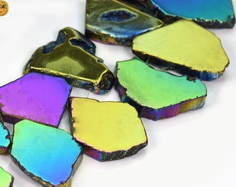 15 inch strand of Electroplated Rainbow Agate slab bead,slice bead,point bead,top drilled beads 21-34x32-43mm