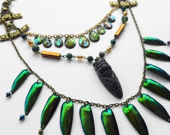 Cicada, Green Jewel Beetle and Abalone Necklace. Unique piece. Beetle multi-strand assemblage jewellery. Gifts for her