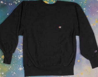 Black CHAMPION Reverse Weave SWEATSHIRT Size XL