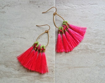 Hot Pink Tassel Earrings Tassel Teardrop Hoop Earrings Must Have Tassel Earrings Statement Tassle Earrings Pink Tassel Earringsra