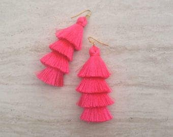 "Hot Pink Tiered Tassel Earrings, Stacked Tassle Earrings Layered Pink Tassel Earrings, Summer Earrings, Colorful, Trendy,Lightweight 3"" Drop"