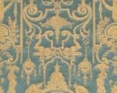 Luxury Table Runner Silk Brocade Rubelli Fabric Aqua Blue & Gold Aida Pattern with Pointed Ends And Tassels
