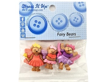 Fairy Bears Teddy Bears Novelty Buttons anf Flatback Jesse James Dress it Up Theme Pack
