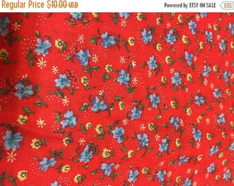CIJ2017 Vintage Calico Fabric, Quilting Cotton, Small All-Over Print, Red and Blue Floral