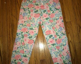 1990s deadstock high waisted floral denim jeans by Lee sz xs