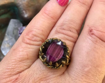Purple Amethyst Ring West Germany Jewelry Vintage 1940 1950 Renaissance Wedding Czech Glass Cocktail Statement