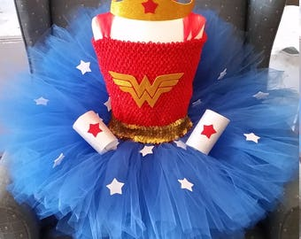 Wonder Girl Woman Tutu Dress Costume with Cuffs and Headband  Red and Royal Blue