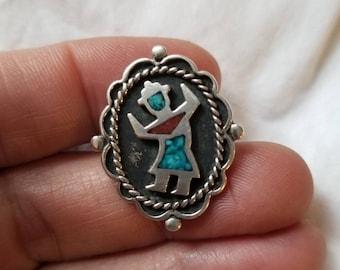 Kachina Dancer Chip Inlay Sterling Navajo Ring