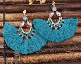 Teal Jewel Tassel Earrings