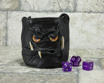 Dice Bag Marble Bag With Monster Face Dungeons And Dragons RPG LARP Rune Bag Magic The Gathering Gamer Gift Black Leather