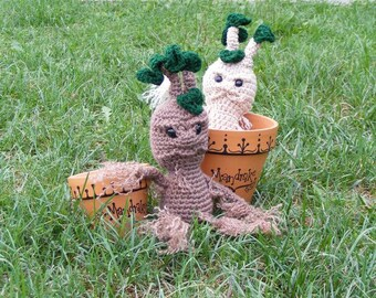 "Crocheted Mandrake Plush Doll - approx 13.5"" tall - Inspired by Harry Potter"