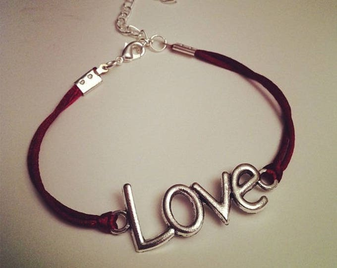 Burgundy cord bracelet with LOVE silver
