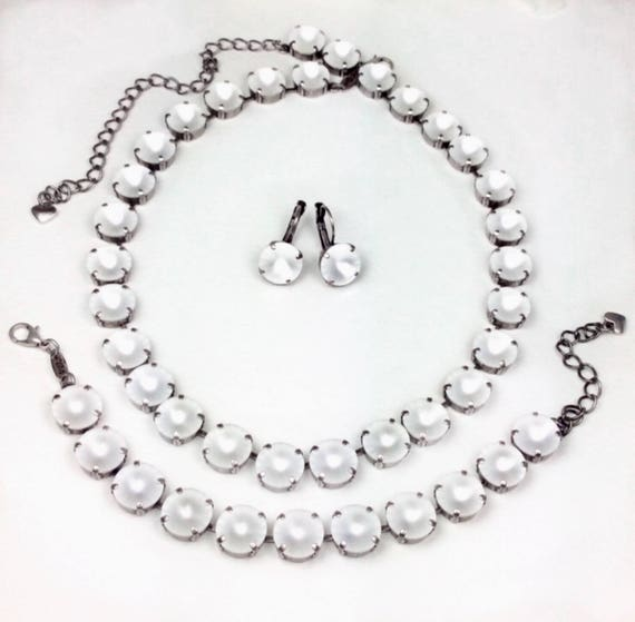 "Swarovski Crystal 12MM Necklace & Bracelet ONLY -  Designer Inspired - Glowing Crystal Matte Crystals - ""Moon Glow"" - FREE SHIPPING"