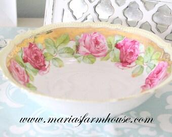 ANTIQUE BOWL, German Porcelain Lusterware Bowl by P.K. Silesia, Porzellanfabrik Königszelt, Replacement China - ca. 1914 - 1918