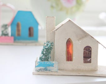 CHRISTMAS CHURCH, Vintage Mica Putz, Cardboard Village House, Occupied Japan, Collectible, Christmas Gift Inspiration ca. 1930's - 1940's