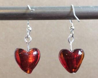Valentines Day Heart Earrings!  Red Glass Heart Earrings.