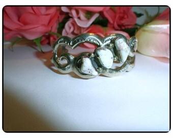 Native American Indian Cuff Bracelet - Vintage Navajo Sterling Silver & White Speckled Brown Gemstones, Signed FL Begay Brac-7119e-061717135
