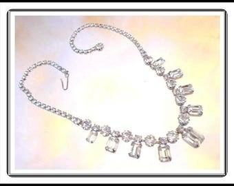 Brides Rhinestone Wedding Necklace - Something Old - Clear Rhinestones - Vintage 1950's 1960's Bridal & Prom Fashion Neck-1169a-090814015
